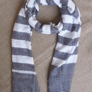 【Grooving the beats】Cashmere Stripes Shawl / Scarf / Stole Handmade from Nepal(Stripe_Grey)