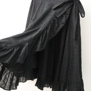 Vintage European Pastoral Style Black Flower Embroidered Skirt Vintage Dress European Vintage Skirt