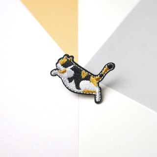 Calico Cat Kitten Embroidery Pin brooch