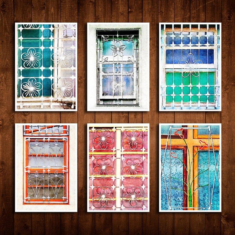 Old House Facing - Floral Window Grille Postcard Set