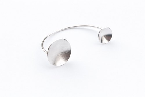 SUZANNE LAU⎮ geometry series ⎮ Silver ⎮double circle bangle bracelet