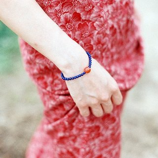 """Breath"" lapis lazuli red cherry red agate bracelet South"