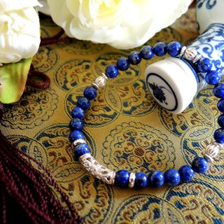 """Blue and white porcelain blue and white porcelain"" classic Oriental Lapis lavender 925 sterling silver bracelet"