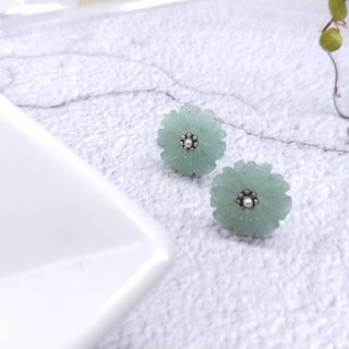 earring. Dongling Jade Petal*Sterile White Ear Pins*Earrings