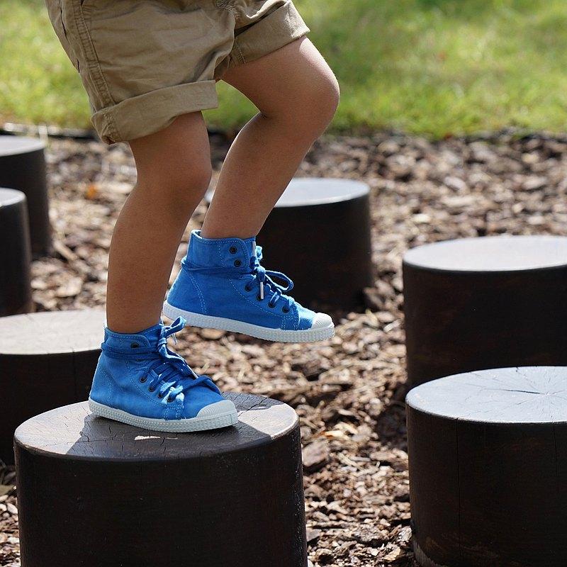 西班牙帆布鞋 CIENTA 61777 59 淺藍色 洗舊布料 童鞋 高筒