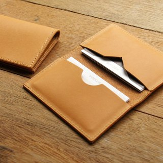 weekenlife  - Leather Card Case ( Custom Name ) - Classic Tan