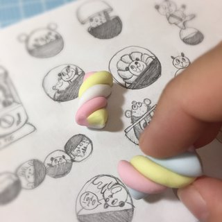 Marshmallow shape eraser (two groups) ((600 full of mystery small gift))