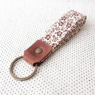 Brown Flower,Personalized Fabric Fob Leather Key Chain,Custom Keychain,Stamped Bestfriend Gift For Her