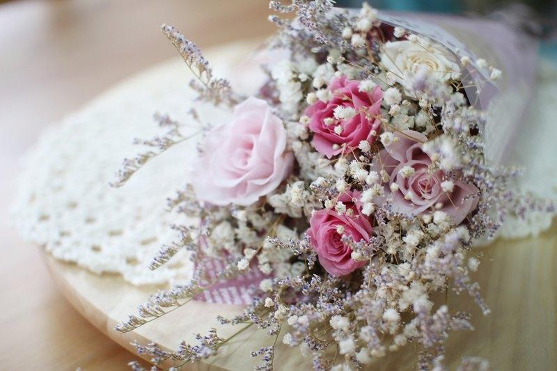 粉紅甜心-永生花小花束