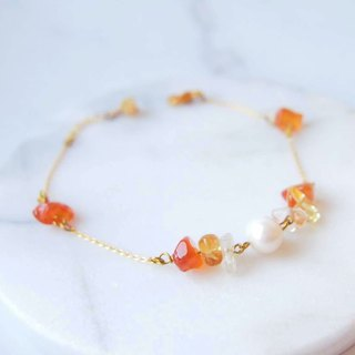 Anniewhere | Handmade Natural Stone Jewelry | Agate Elegant White Pearl Bracelet / Anklet