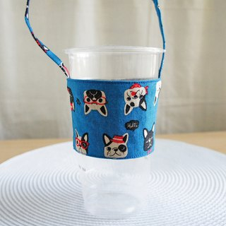 Lovely [Japanese cotton linen] law bucket head drink cup bag, bag, green cup set [blue]