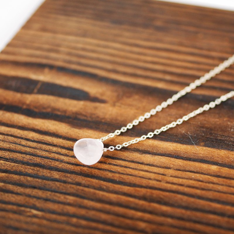 [Natural stone series] powder crystal flat drop pure silver necklace