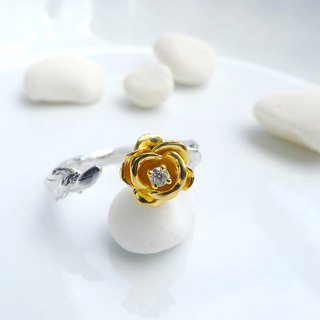 HK194 ~ 925 Silver Rose Style Ring