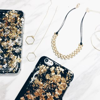 Vintage gold foil series ll Black x Champagne Gold ll mobile phone case