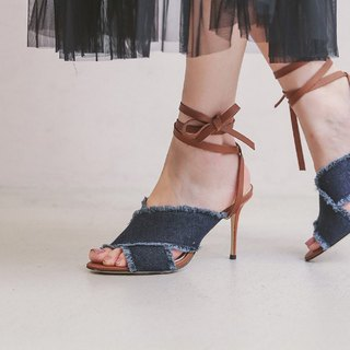 [Show products clear] tannins detachable round stiletto sandals dark blue brown belt