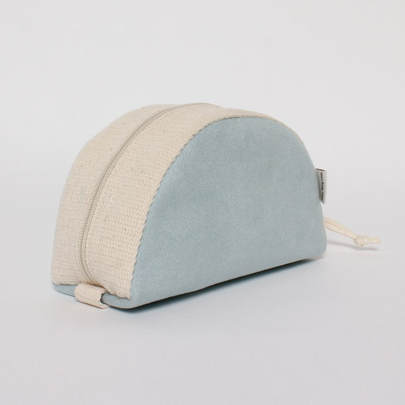 Special offer shell bag cosmetic bag large capacity super good pull plus external original suede light blue
