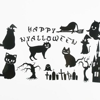 Cat-Halloween Sticker / Seal (Black)