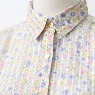 【RE1021T250】 autumn Japanese fresh retro floral striped ancient shirt