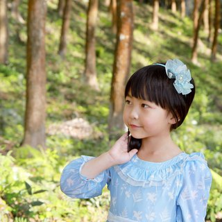 Handmade headdress child headband blue eustoma