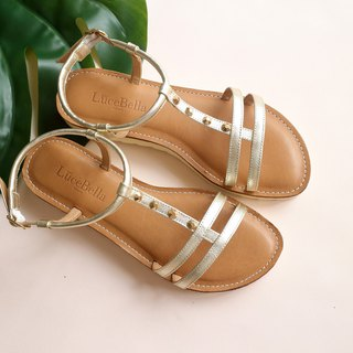 [City context] double thin flat sandals - gold
