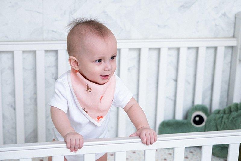 Organic B 有機比比 彌月禮嬰兒有機棉紗圍兜/口水巾-暖暖鹿奔跑