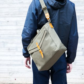 Messenger Bag / Shoulder Bag in Water Resistant Canvas and Leather Army Green