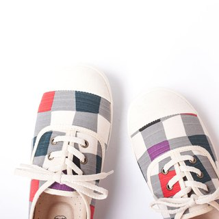 Bandage Sweet Pepper Day | Fairy Plaid Flower Shoes. Extra Wide Edition Comfort. Japanese Fabric. Leather Insole