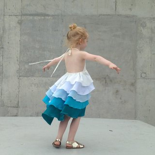 Girls Birthday Flamenco Summer Party Dress in Aqua Blue Ombré 0-2 Years