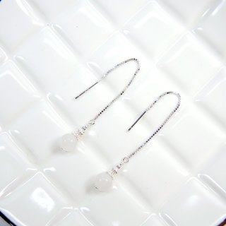 Elegant fashion white jade 925 silver earrings earrings