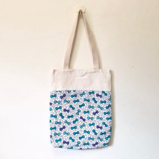 Bow tie blue wind shoulder bag / tote bag - pink blue / pink 2 colors