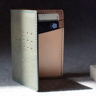 YOURS leather V-type large capacity business card holder green + wood + primary colors