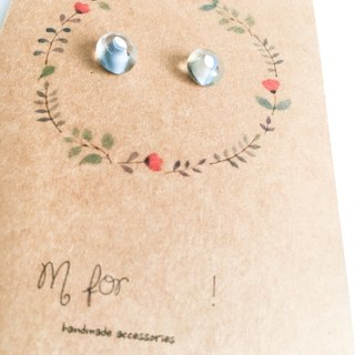 Kiln blue and white glass beads earrings