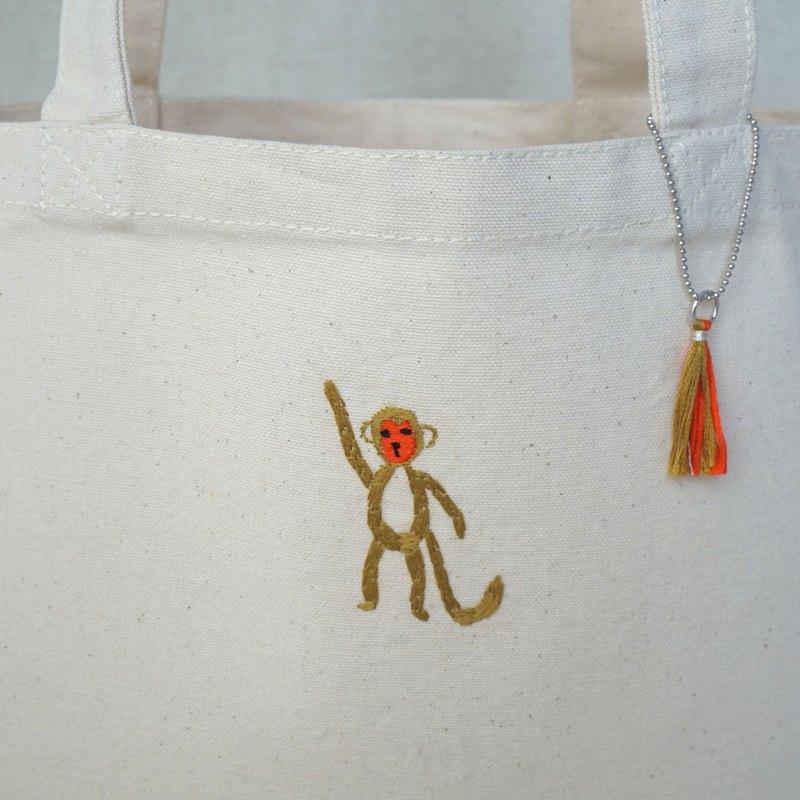 """十二生肖手工刺繡手提包""""猴子""""訂單生產]"""