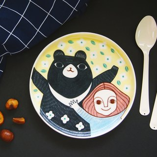 Happy Bear & A Girl (L) l ceramics l May&Clay Ceramics Studio