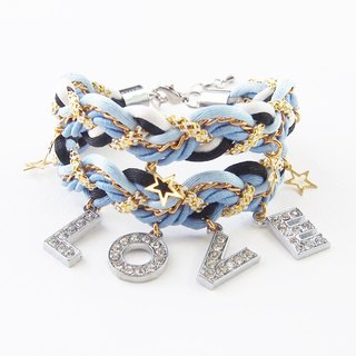 LOVE Blue braided bracelet - valentine gift.