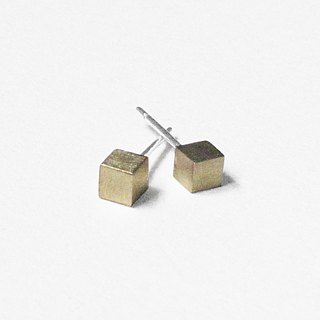 Crazy Geometry | 4mm Matte Brass (Medium) Cube Square Square Sterling Silver Earrings (Single Side)