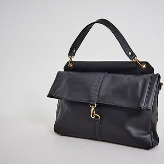 Vintage buckle detachable briefcase black