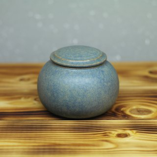 Round, dull blue tea warehouse, hand made pottery tea props
