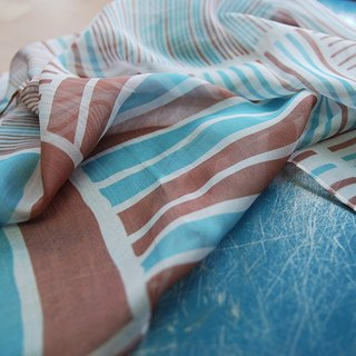 Reduced Silk Long Scarf 150cmX70cm Metal House Coffee / Water Blue