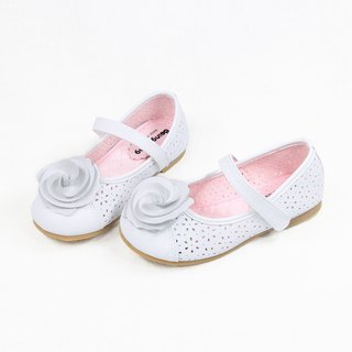 Three-dimensional rose doll shoes - pure white children's shoes