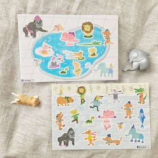 Summer and winter zoo cut transparent sticker - hand account good friend 2 into 1 group