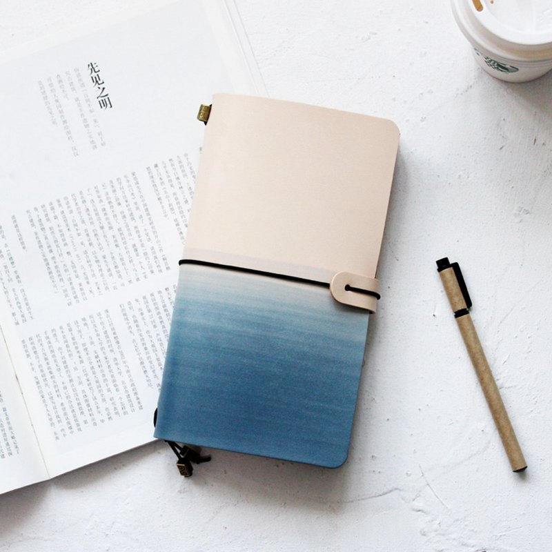 Whitening gradient mountain sea blue hand book leather notebook diary travel book log customization