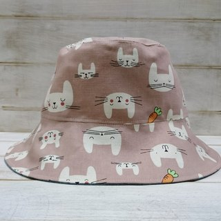Pink rabbit rabbit & cowboy blue double fisherman hat sun hat