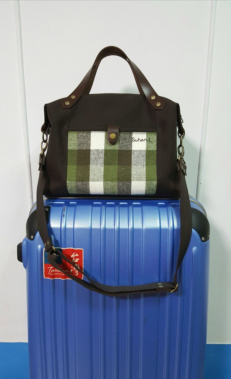 Japan No. 8 canvas series (leather hand strap) ~ green plaid shoulder bag / handbag / cross-body bag