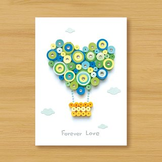 Handmade Roll Paper Card _ Happy Love Hot Air Balloon Forever Love_A