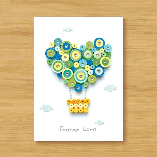 Hand roll card: happy love hot balloon Forever Love_A (Valentine's card, birthday card, father card, wedding greeting card)