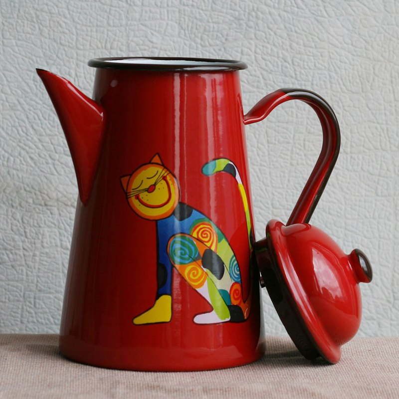 Smaltum Prague coffee pot giggling spotted cat red (FDN000537)