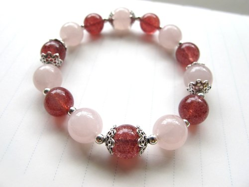 【Strawberry Sandwich】 pink crystal x strawberry crystal x 925 silverware - hand-made natural stone series