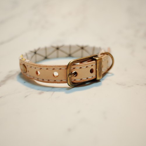 Dog collars, S size, White & yellow grid_DCK090410