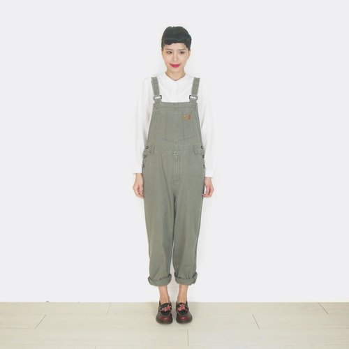 Khaki army green vintage suspenders trousers AT9021